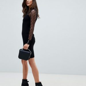 Morgan pencil black dress with dotty mesh sleeves in black - Liyanah