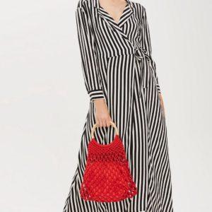 PETITE Stripe Black and White Maxi Shirt Dress - Liyanah
