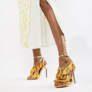 River Island heeled sandals with tassel details in yellow - Liyanah.co