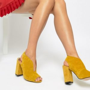 River Island suede v cut heel in yellow - Liyanah.co
