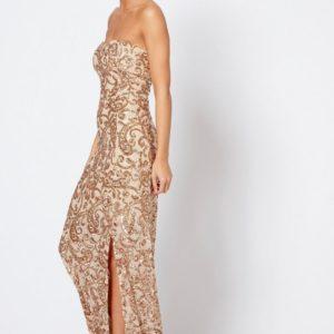 Strapless Bandeau Sequin Maxi Dress by Club L London - Liyanah