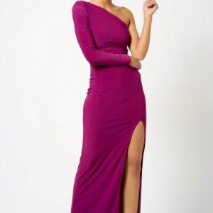 Topshop One Shoulder Purple Maxi Dress by Club L London - Liyanah