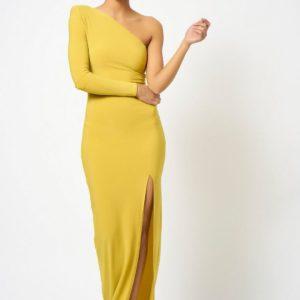 Topshop One Shoulder Yellow Mustard Maxi Dress by Club L London