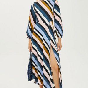 Topshop Striped Open Back Dress - Liyanah