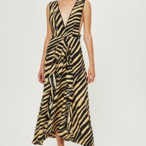 Topshop Zebra Print Pinafore Dress - Liyanah