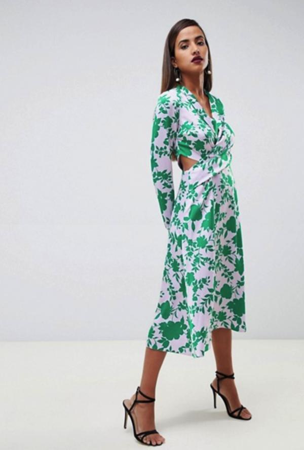 ASOS DESIGN collar midi tea dress in floral - Liyanah