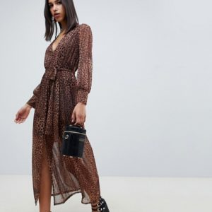 ASOS DESIGN leopard print maxi dress with belt - Liyanah
