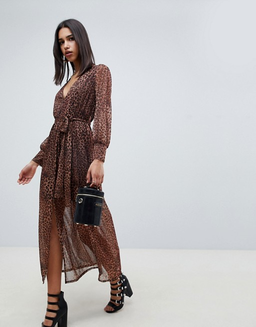 ASOS DESIGN leopard print maxi dress with belt - Liyanah