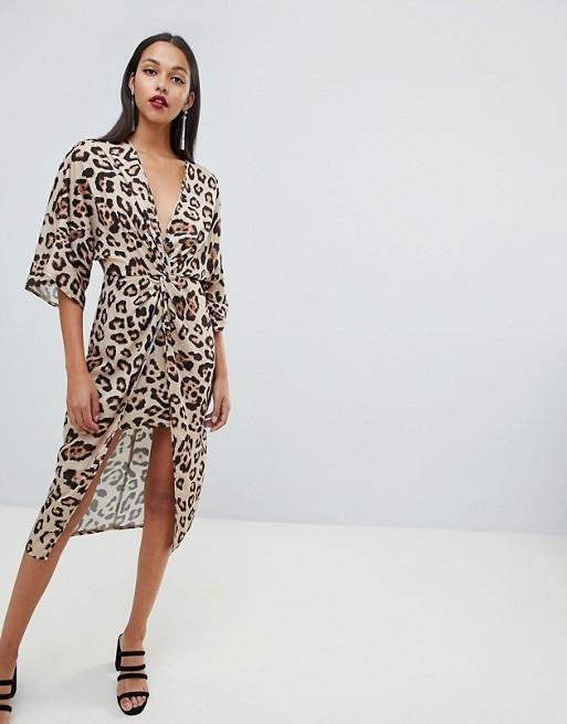 ASOS DESIGN satin kimono midi dress in leopard print - Liyanah