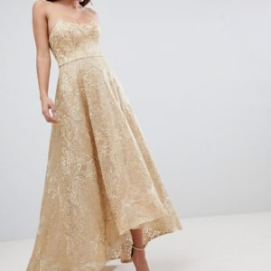Bariano High Low Bandeau Gold Maxi Dress In Metallic Jacquard - Liyanah
