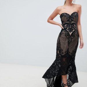 Bariano Sweetheart Fishtail Black Maxi Dress In Lace - Liyanah