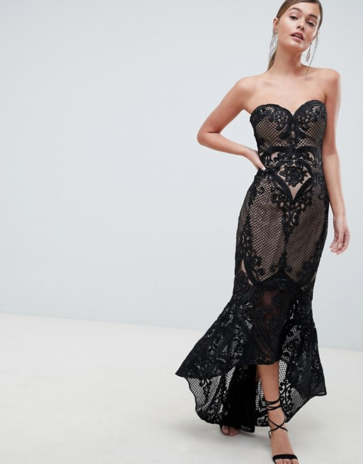 Bariano Sweetheart Fishtail Black Maxi Dress In Lace - Liyanah