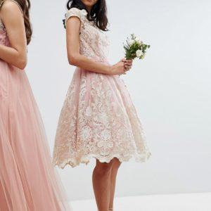 Chi Chi London Premium Lace Midi Prom Dress with Bardot Neck - Liyanah
