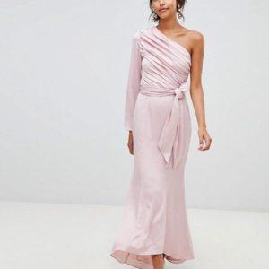 Keepsake Hold Back long sleeve one shoulder pink maxi dress - Liyanah