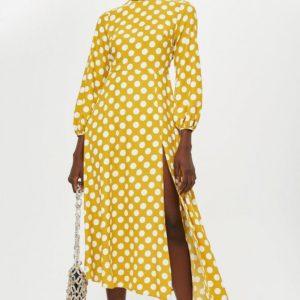 Polka Dot Yellow White Print Midi Dress - Liyanah