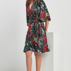 Black Floral Print Wrap Dress Next