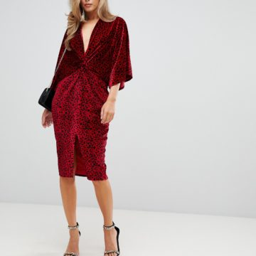 Flounce London red velvet twist front midi dress in red animal - Liyanah
