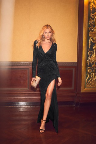 Next Abbey Clancy X Lipsy Glitter Wrap Maxi Dress