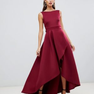 True Violet high low scuba maxi dress with open back bow detail in wine