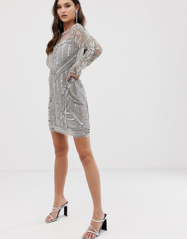 A Star Is Born embellished mini dress in silver - Liyanah