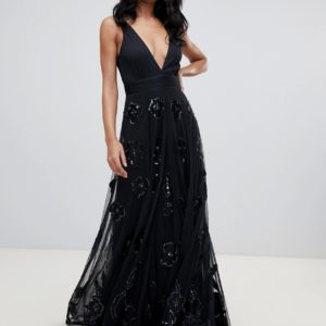 A Star Is Born prom maxi dress with plunge front in black - Liyanah