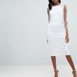 ASOS DESIGN Tall Embellished Scuba Fringe Back White Midi Bodycon Dress - Liyanah