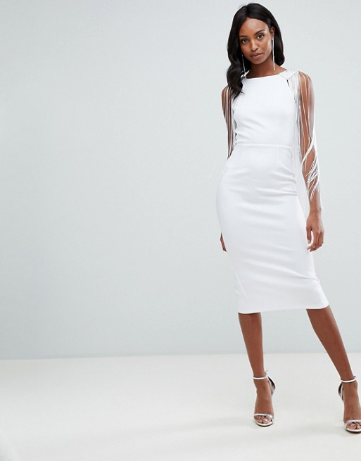 ASOS DESIGN Tall Embellished Scuba Fringe Back Midi Bodycon Dress