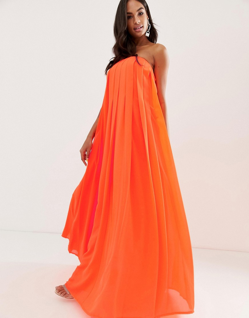 ASOS DESIGN bandeau pleated column maxi dress