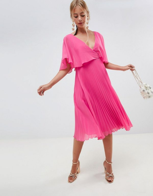 ASOS DESIGN midi dress with pleat skirt and flutter sleeve - Liyanah