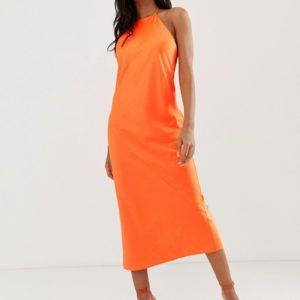 ASOS DESIGN midi slip dress with high neck in neon - Liyanah