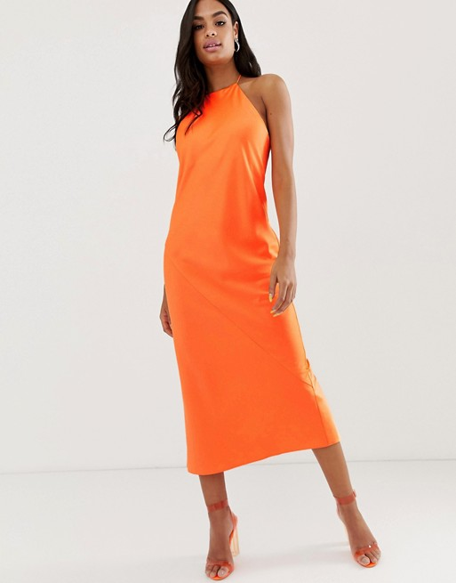ASOS DESIGN midi slip dress with high neck in neon