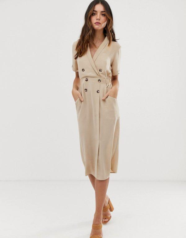 ASOS DESIGN tux tailoring beige midi dress - Liyanah