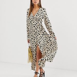 ASOS DESIGN wrap maxi dress in leopard print - Liyanah