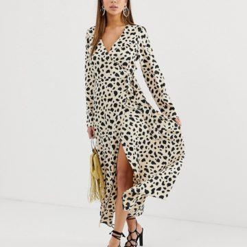 ASOS DESIGN wrap maxi dress in leopard print - Liyanah