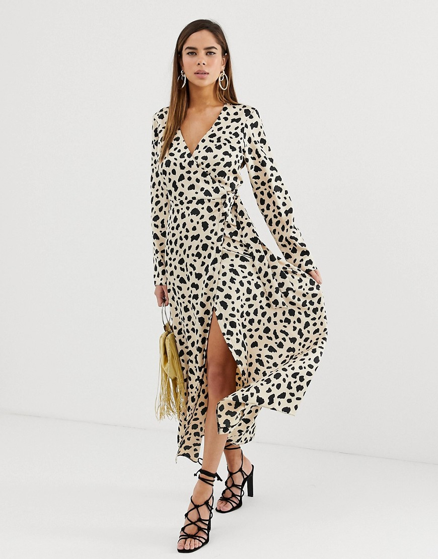 ASOS DESIGN wrap maxi dress in leopard print