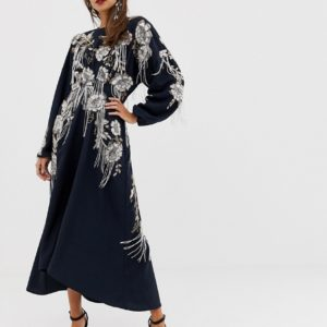 ASOS EDITION beaded floral fringe midi dress with open back - Liyanah