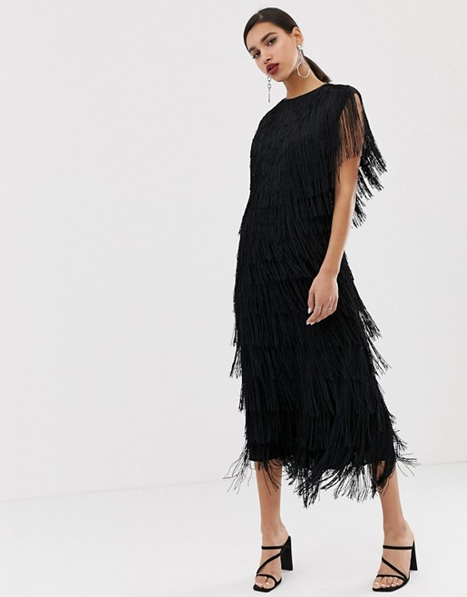 ASOS EDITION fringe column midi dress