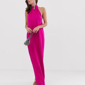 ASOS EDITION halter column maxi dress in satin - Liyanah