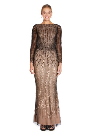 Adrianna Papell Black Beaded Long Gown - Liyanah