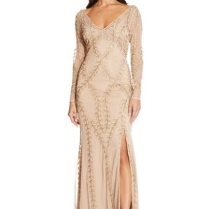Adrianna Papell Nude Long Beaded Dress - Liyanah