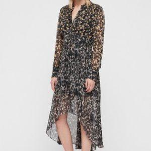AllSaints Grey Leopard Floral Liza Midi Dress - Liyanah