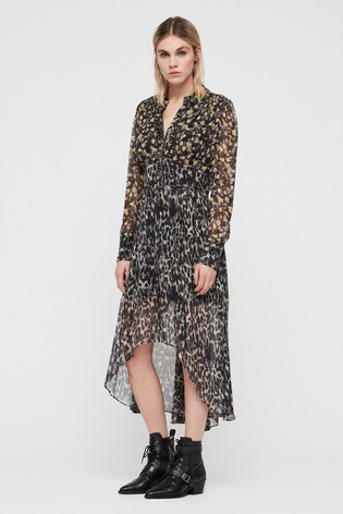 AllSaints Grey Leopard Floral Liza Midi Dress