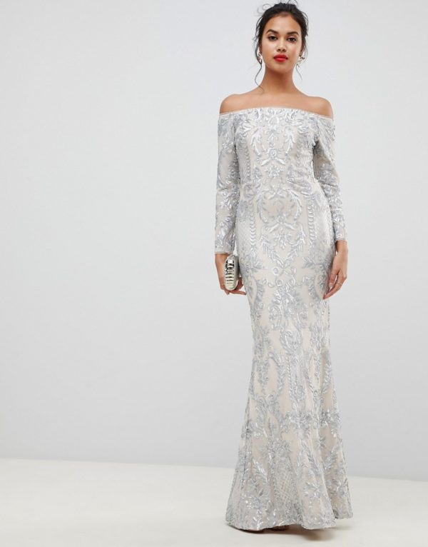 Bariano embellished patterned sequin off shoulder maxi dress in silver - Liyanah