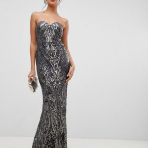 Bariano embellished patterned sequin sweetheart bandeau maxi dress in charcoal - Liyanah