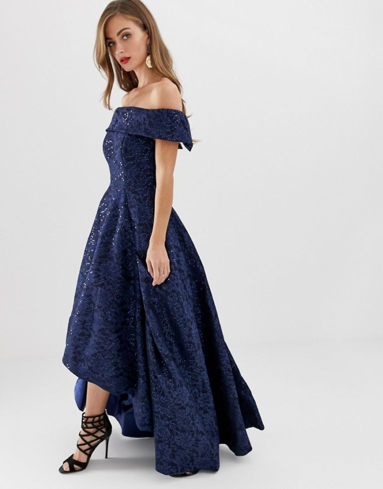 Bariano off shoulder full prom dress with high low hem in navy - Liyanah