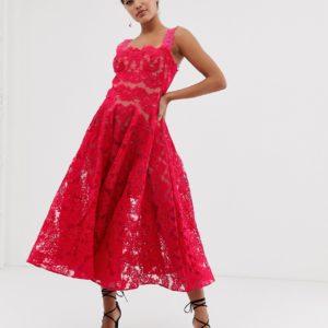 Bronx & Banco Britney pink lace midi dress - Liyanah