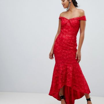 Chi Chi London bandeau embroidered high low maxi dress in red - Liyanah