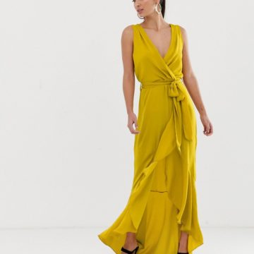 Flounce London yellow wrap front midaxi dress in chartreuse - Liyanah