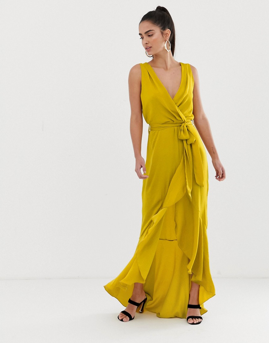 Flounce London wrap front midaxi dress in chartreuse