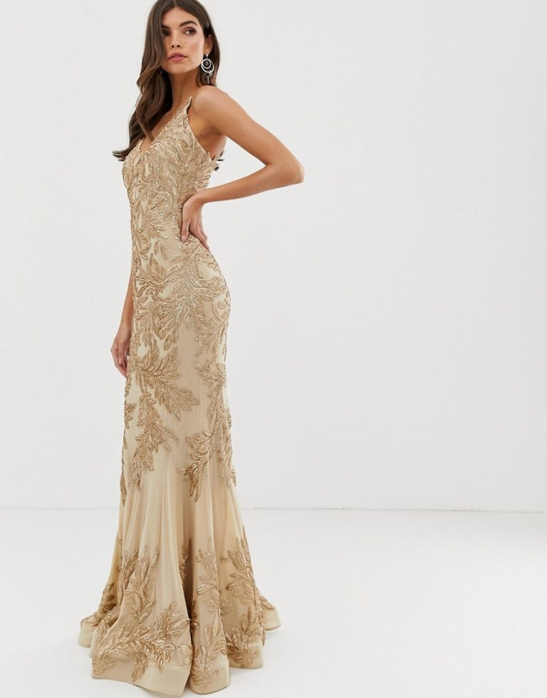 Forever Unique fishtail prom maxi dress in lace embroidery in gold - Liyanah